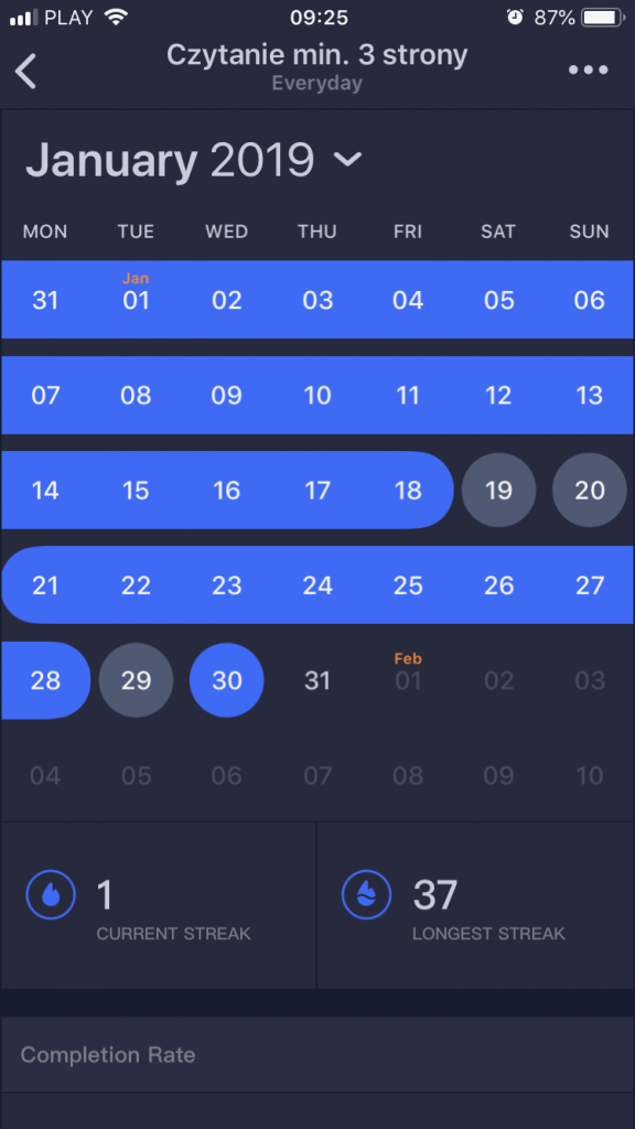 Screen: Habitify app - habit Tracker