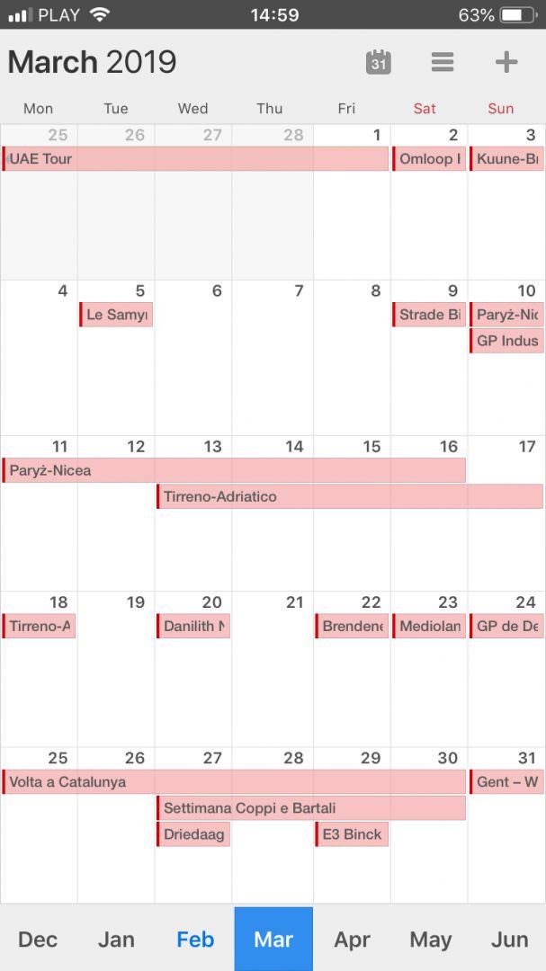 kalendarz kolarski 2019