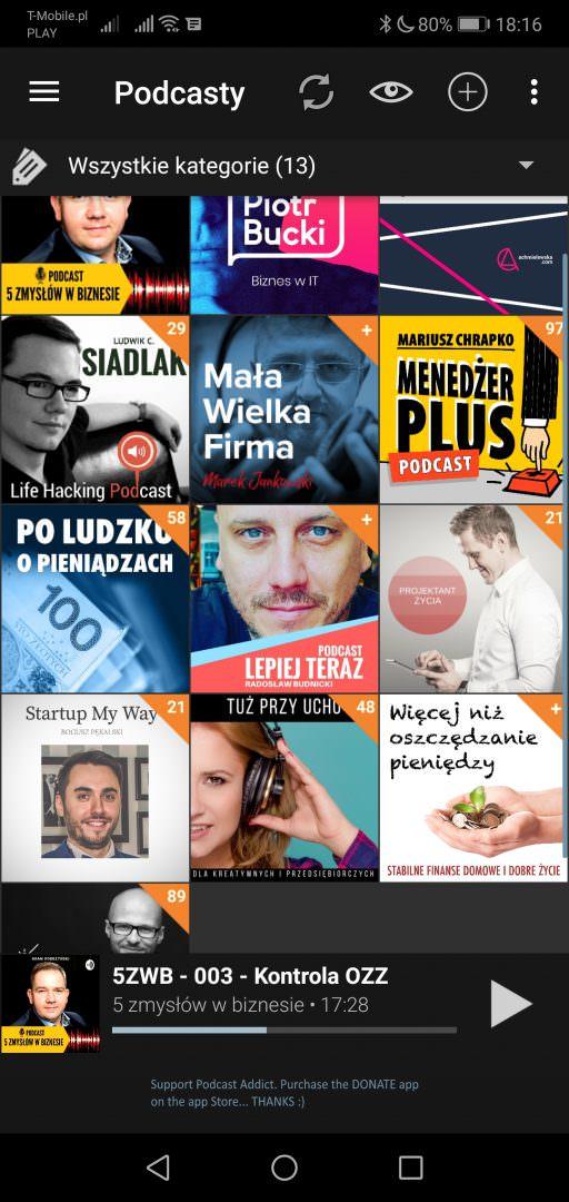 Screen: Aplikacja Podcast Addict dla Androida